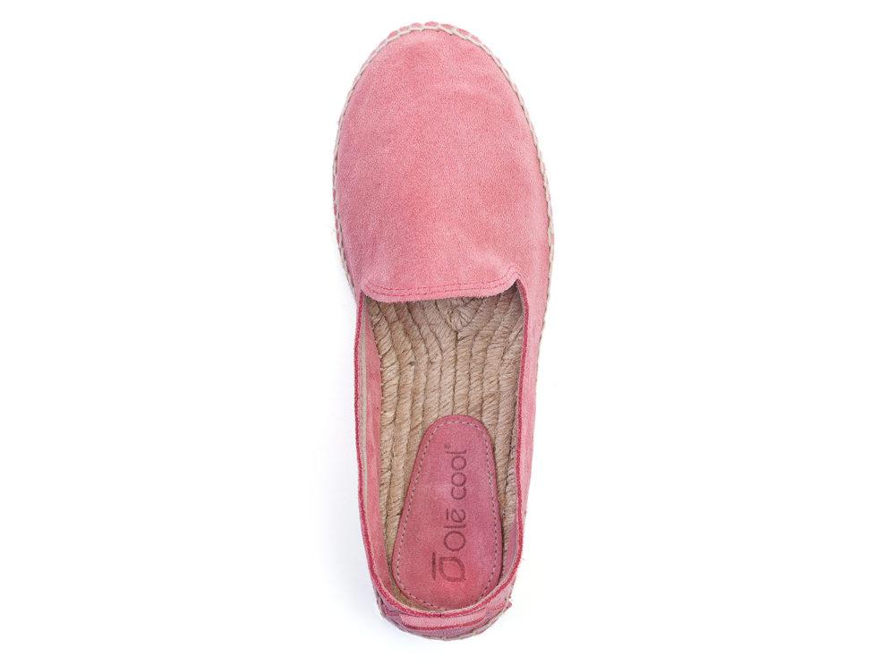 alpargatas planas de mujer Olé Cool de serraje rosa