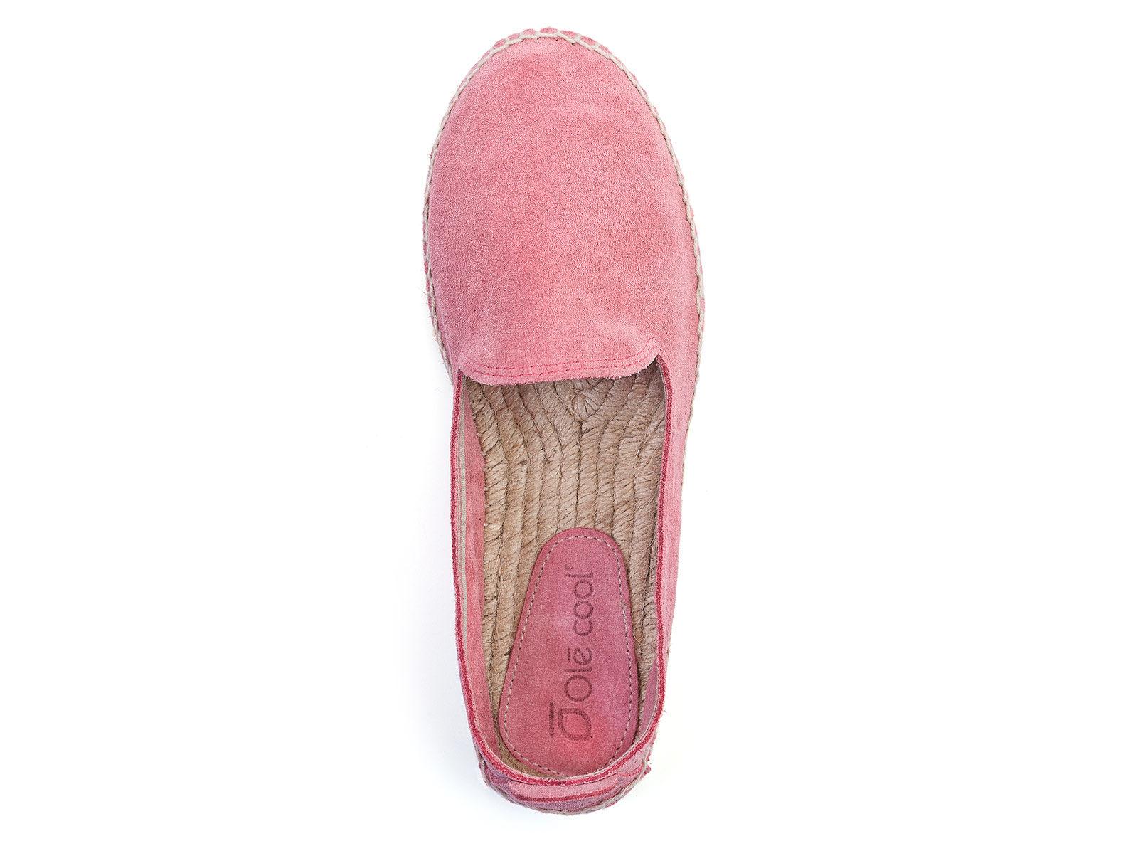 Alpargatas planas de mujer OLĒ COOL de serraje rosa