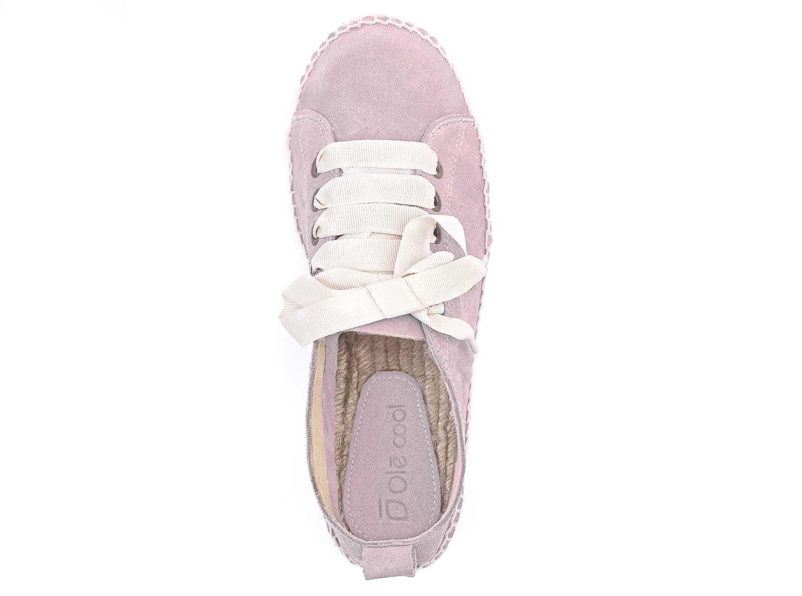 Alpargatas con plataforma y cordones de mujer OLĒ COOL de serraje rosa