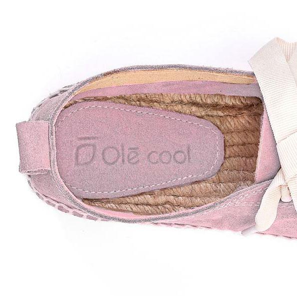 Alpargatas con plataforma y cordones de mujer OLÉ COOL de serraje rosa