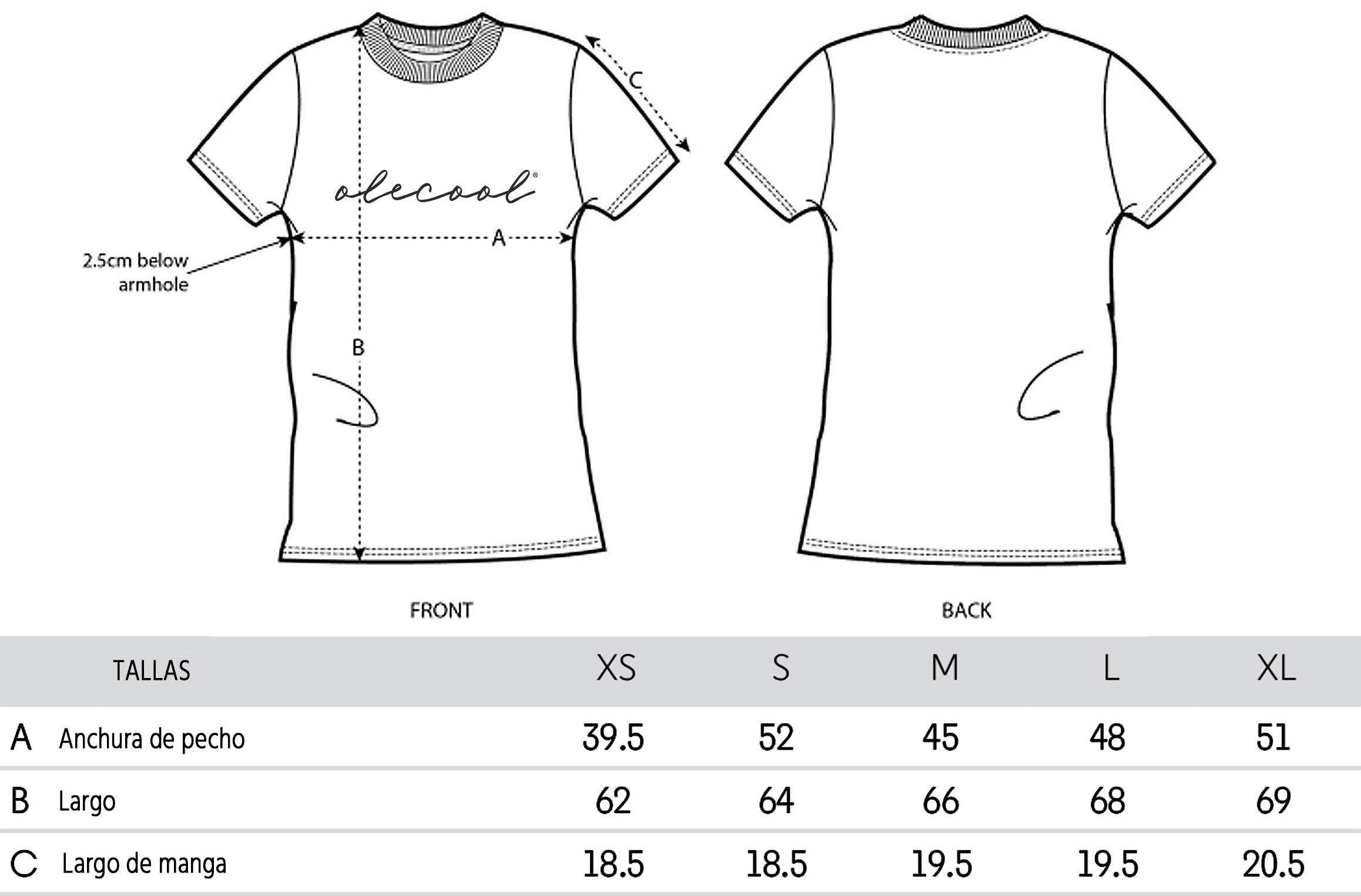 Guia de tallas camisetas mujer